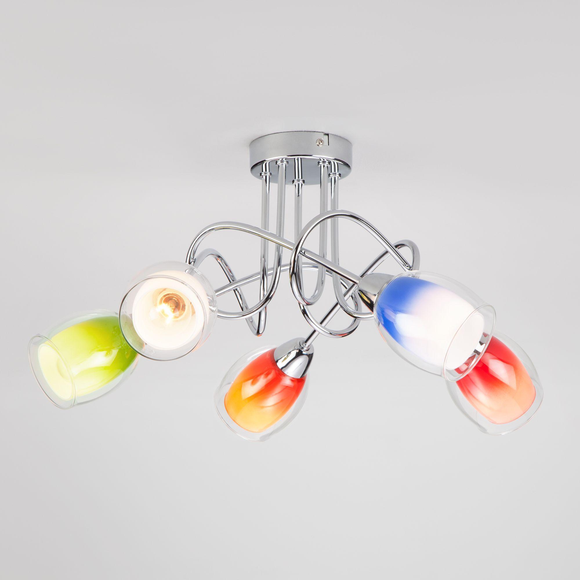 Потолочная люстра с цветными плафонами 2267/5 хром