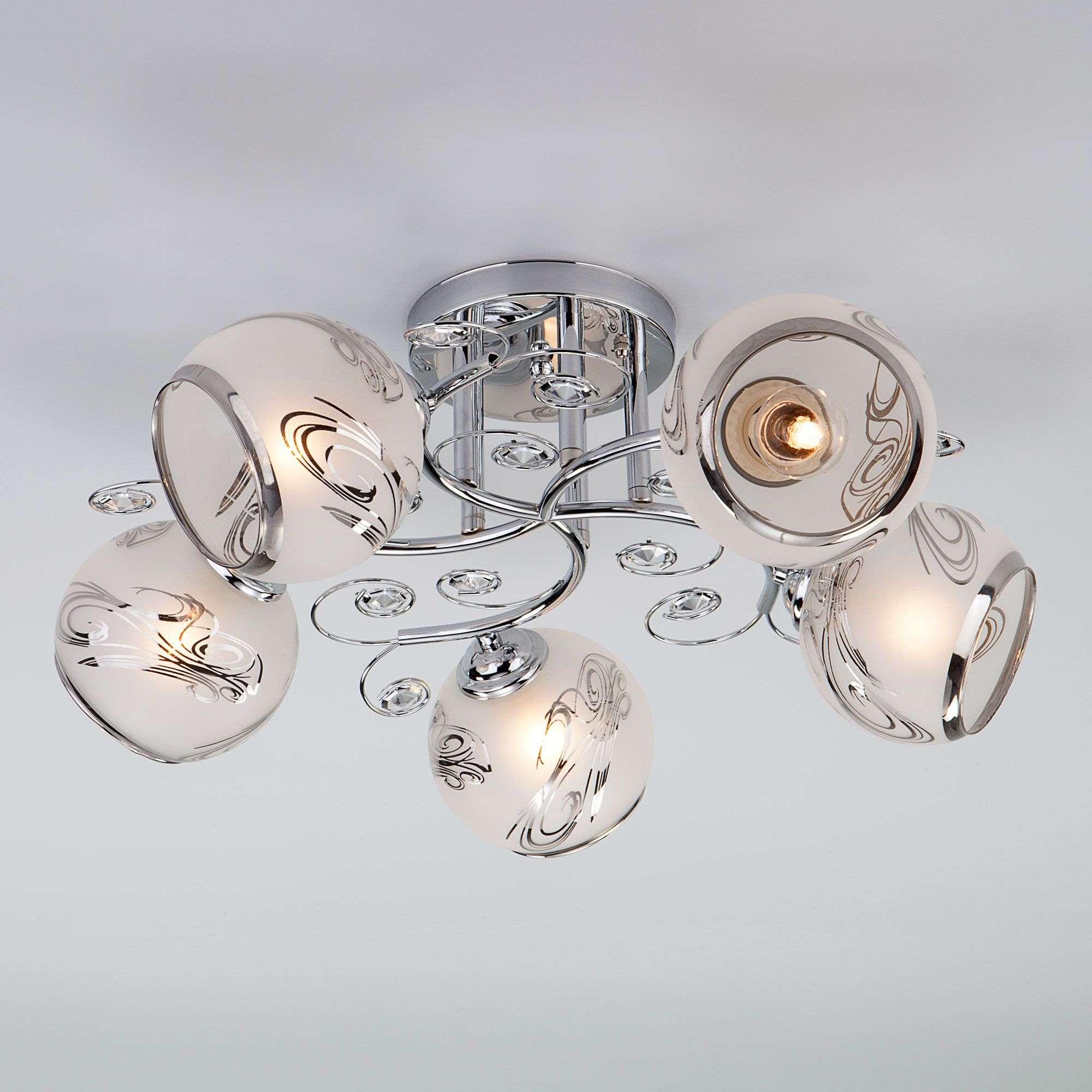 Потолочный светильник с плафонами 30031/5 хром