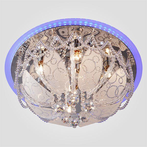 Люстра с хрусталем и декором из стекла 80100/8 хром/голубой