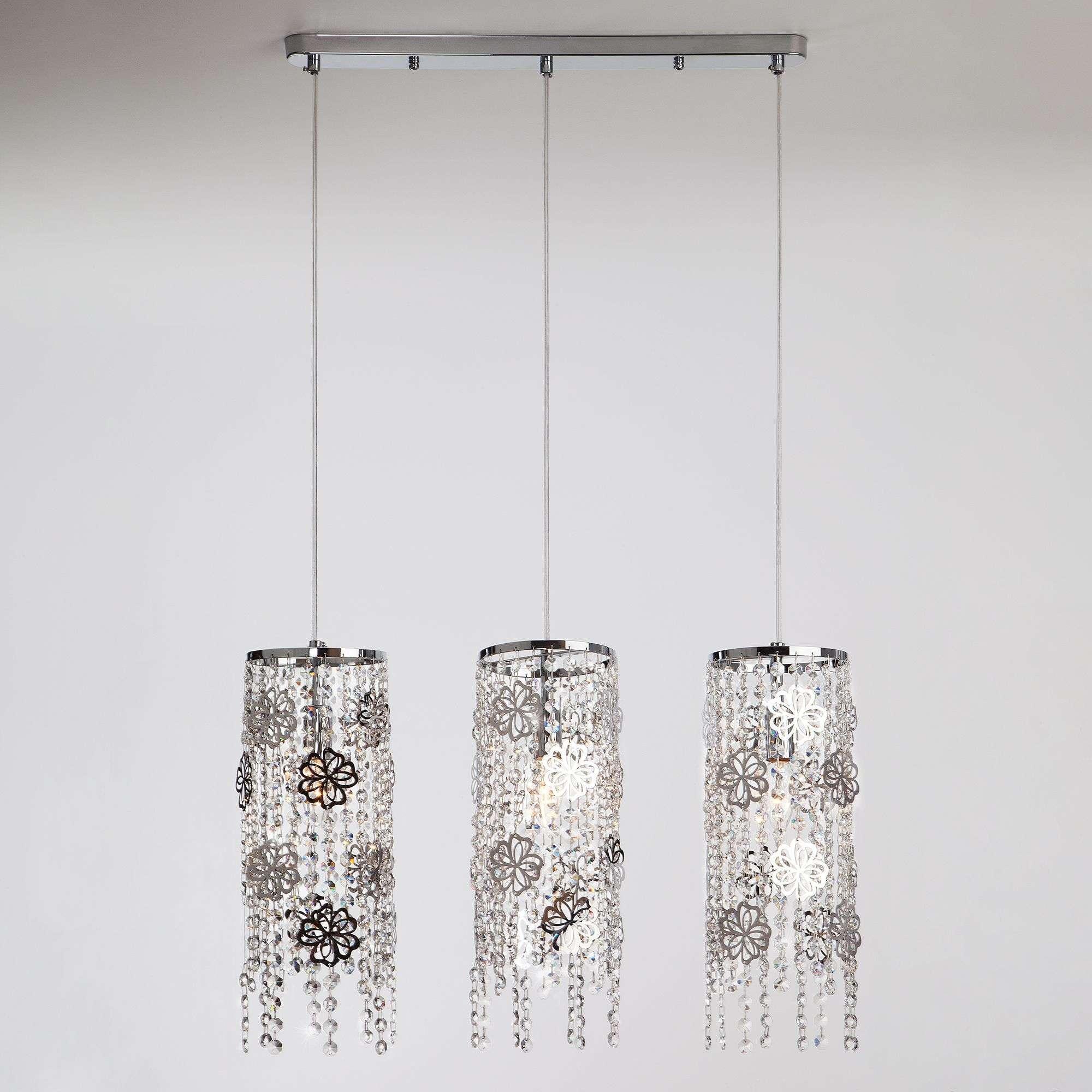 Потолочный подвесной светильник с хрусталем 10083/3 хром / прозрачный хрусталь