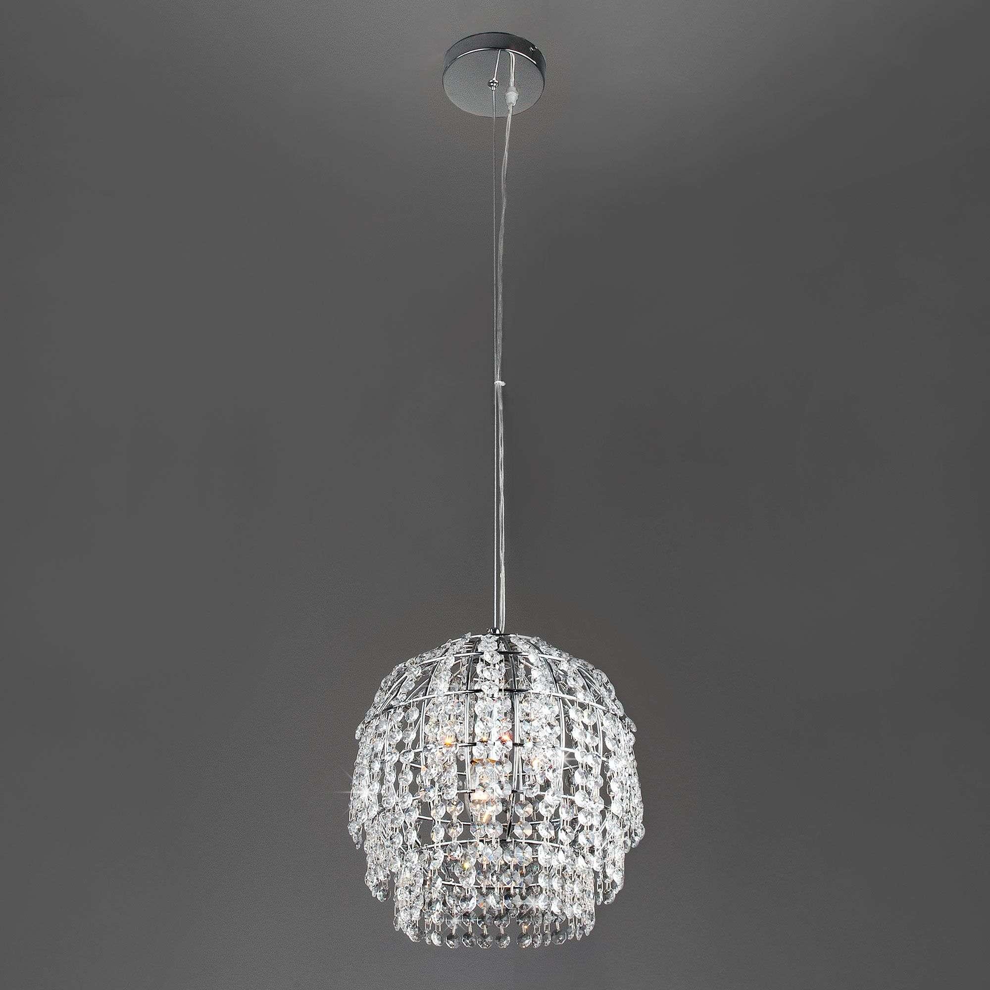 Подвесной светильник с хрусталём 10091/1 хром/прозрачный хрусталь Strotskis