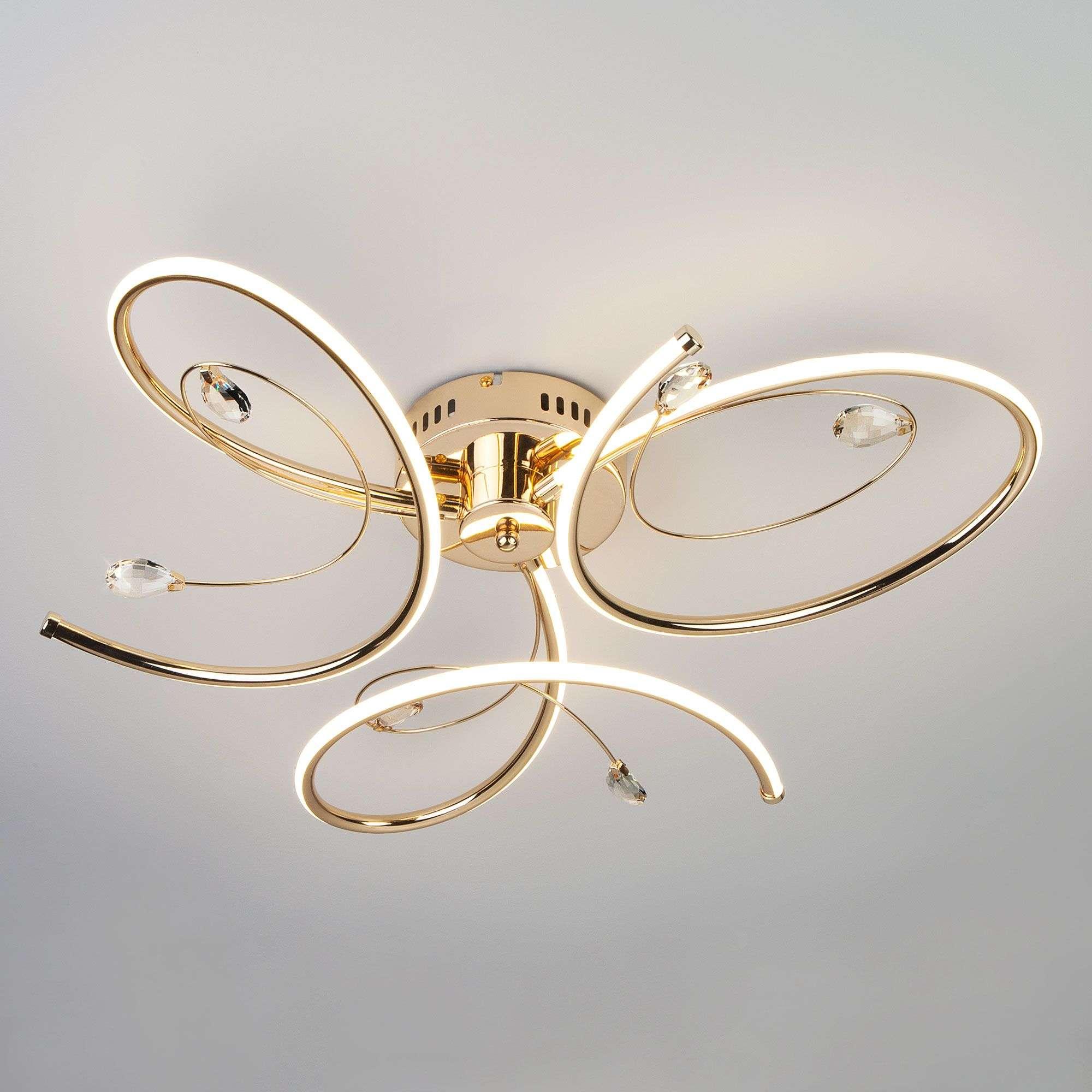 Потолочный светильник LED с хрусталем 90099/3 золото