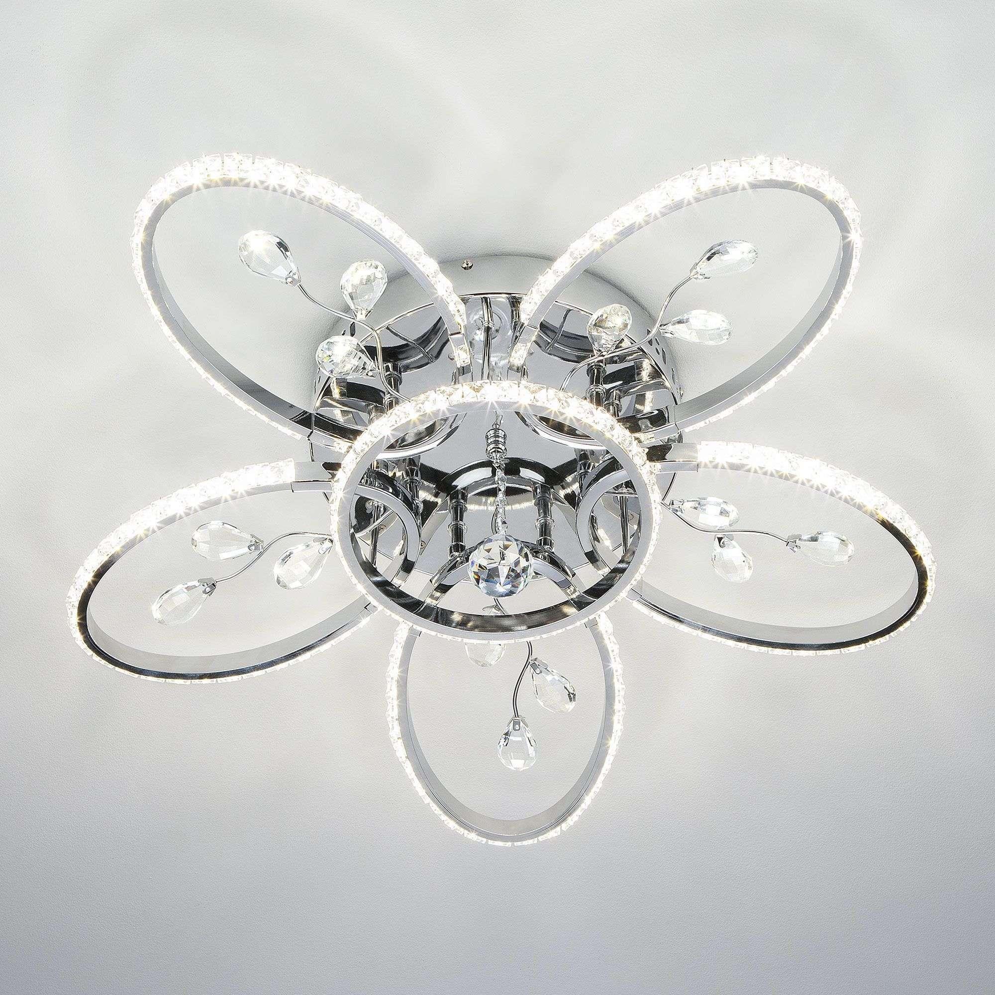 Потолочный LED светильник в форме цветка 90097/6 хром