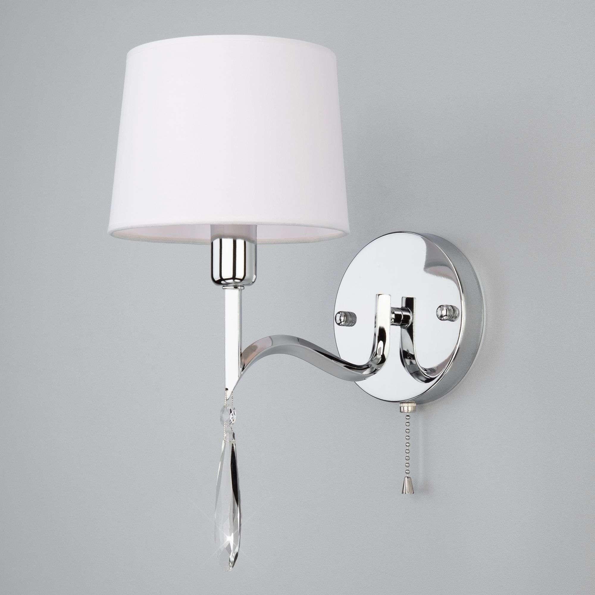 Настенный светильник с абажуром 10093/1 хром/прозрачный хрусталь Strotskis
