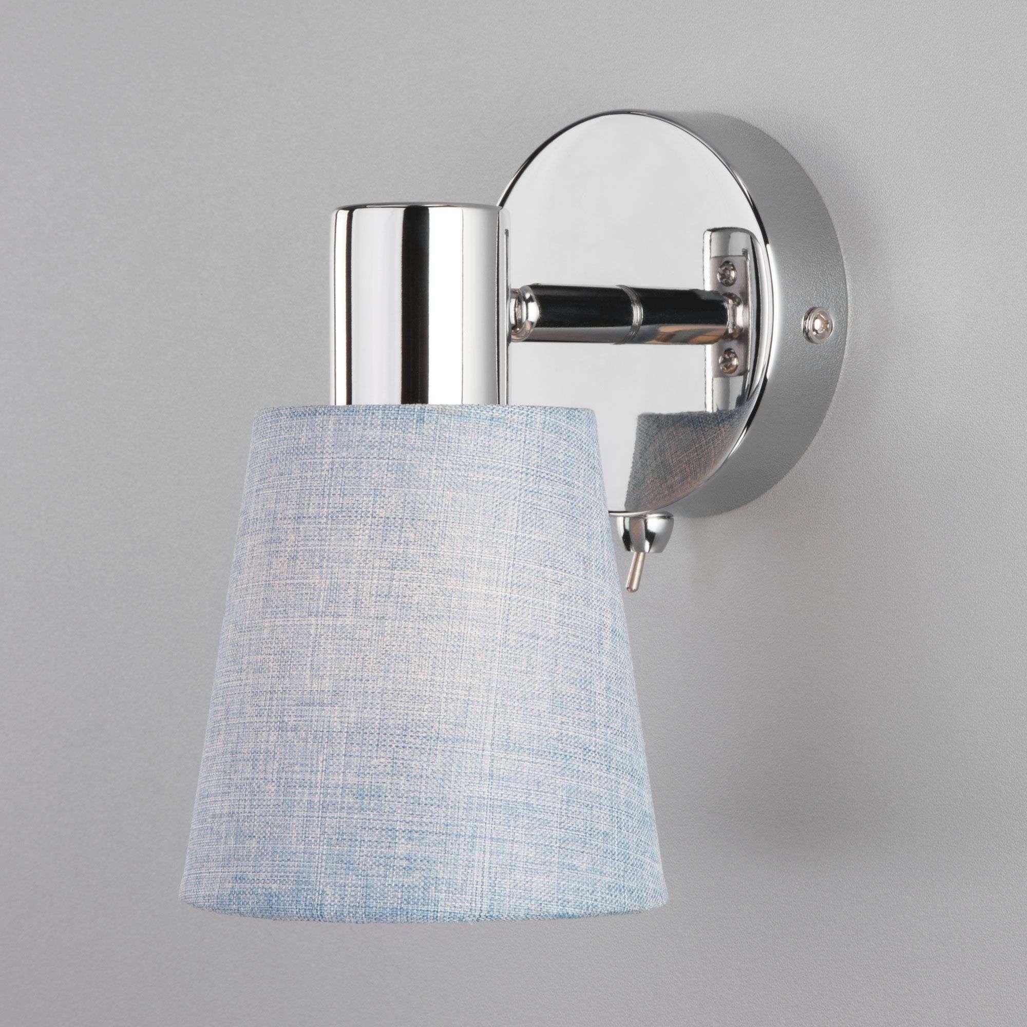 Настенный светильник с абажуром 20080/1 хром/голубой