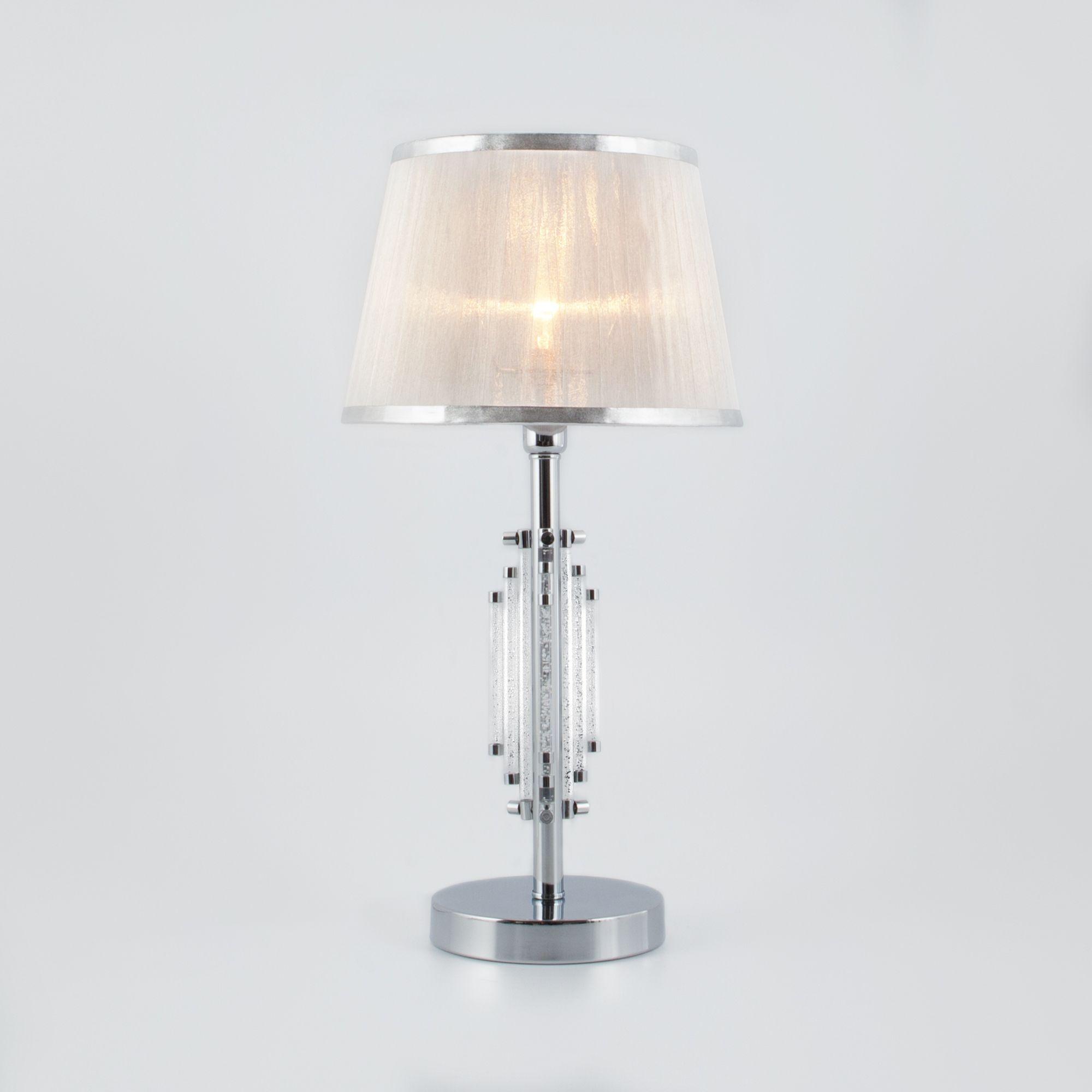 Настольная лампа с абажуром 01065/1 хром