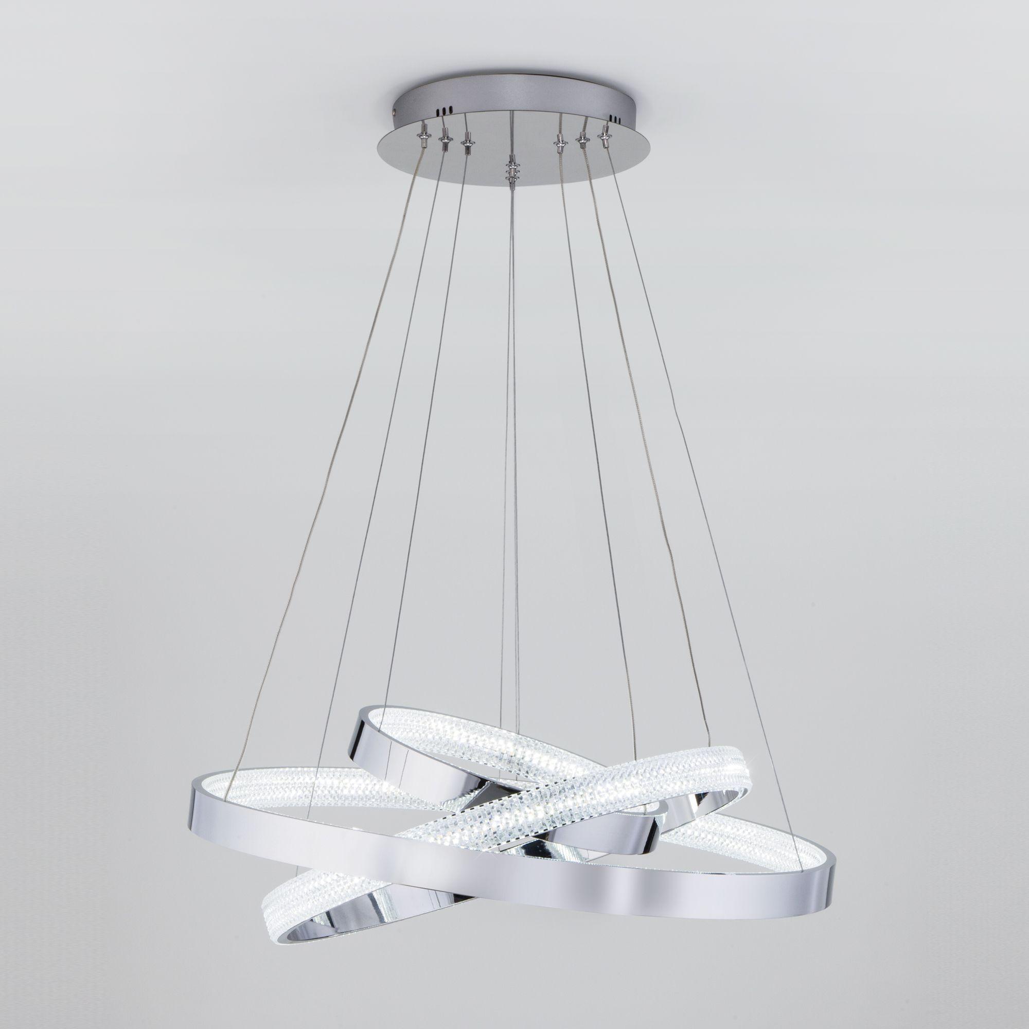 Подвесной светодиодный светильник с пультом управления 90176/3 хром