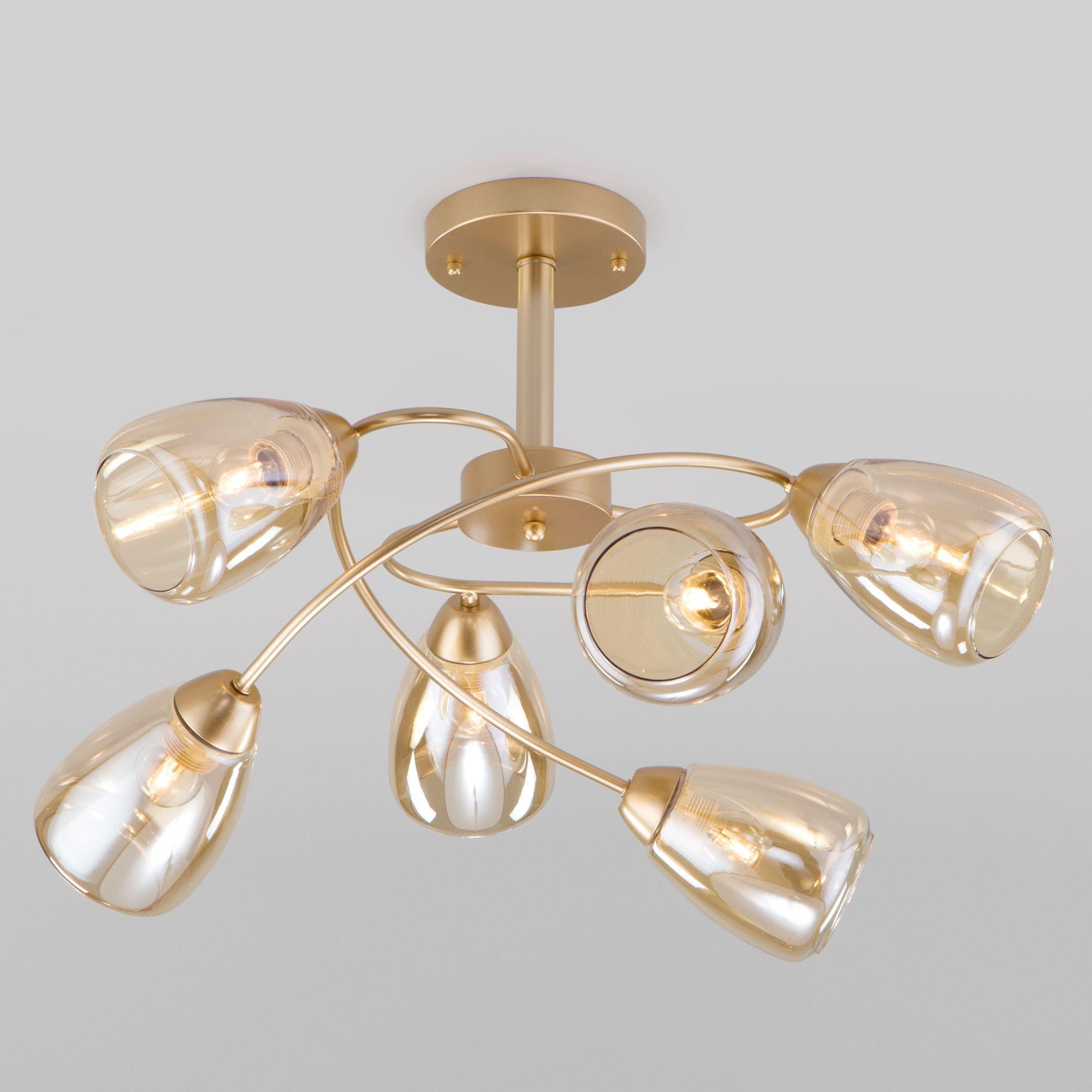 Потолочная люстра со стеклянными плафонами 30168/6 матовое золото