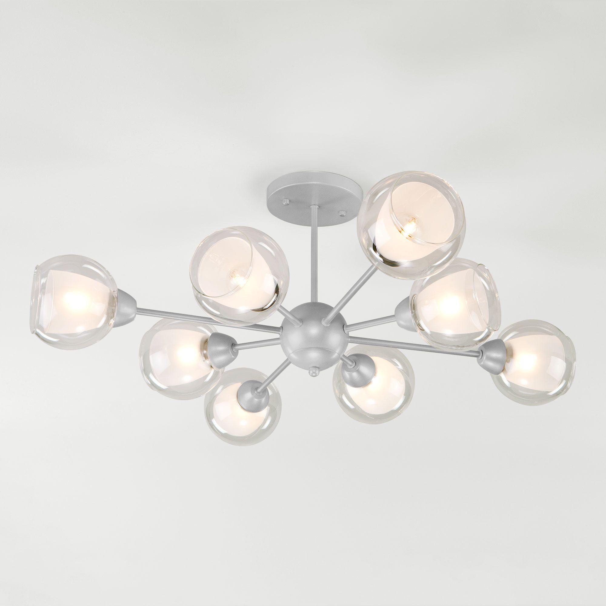 Потолочная люстра со стеклянными плафонами 30163/8 серебро