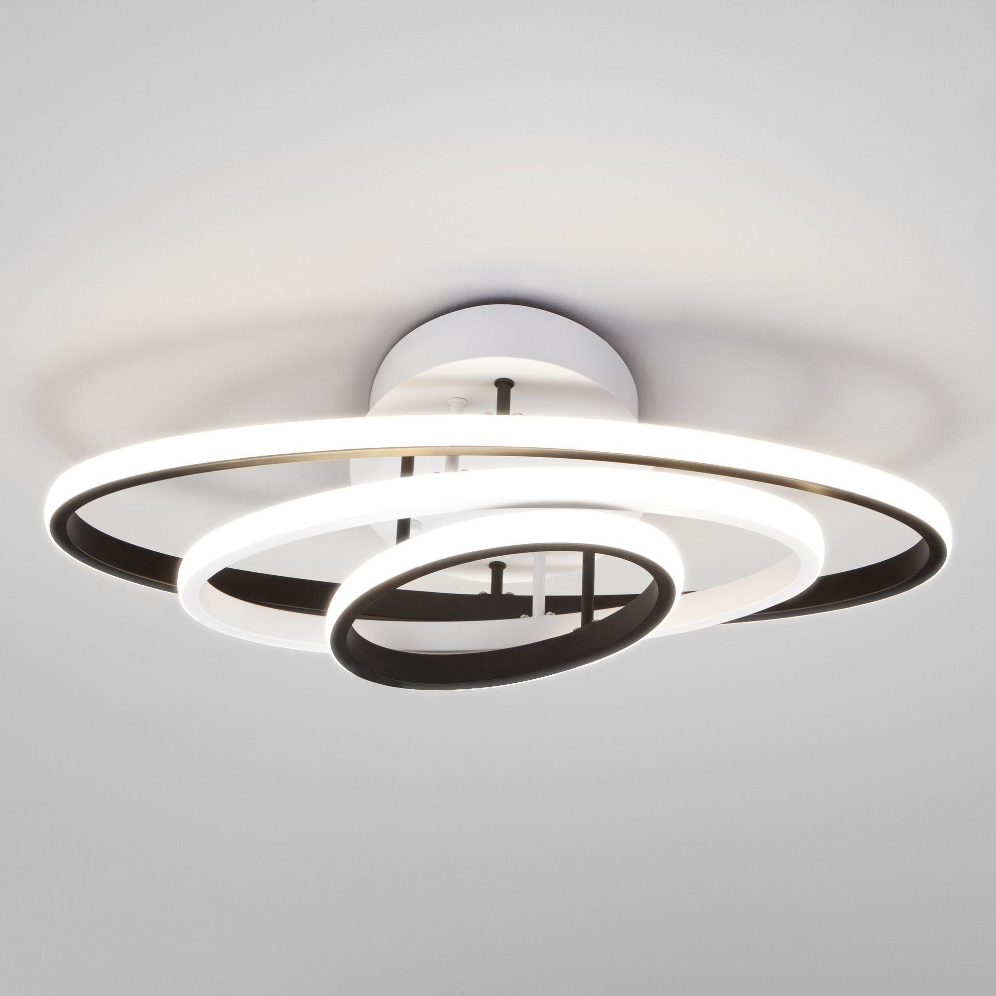 Потолочный светодиодный светильник с пультом управления 90237/3 белый/черный