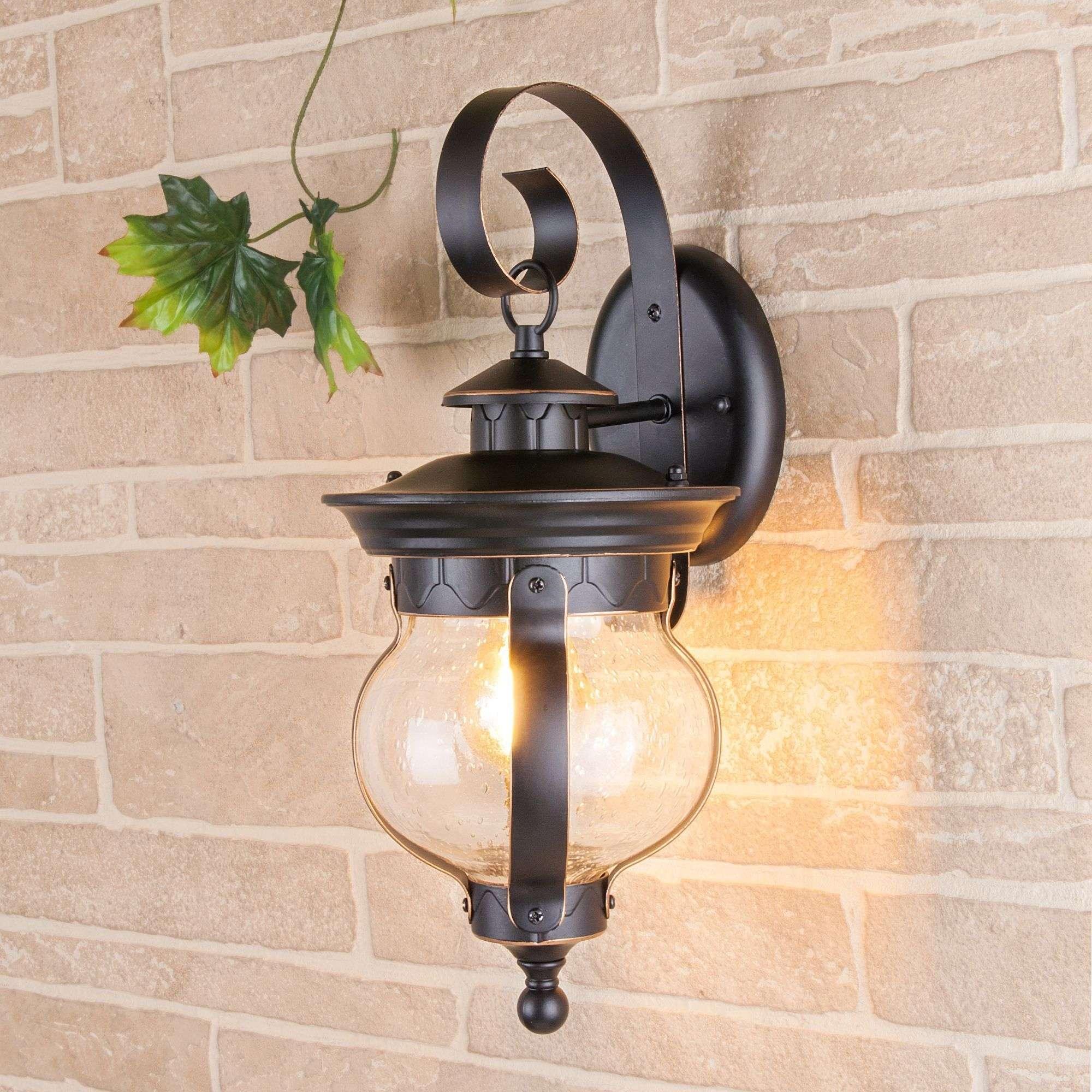 Уличный настенный светильник Barrel D черное золото IP44 GL 1025D черное золото