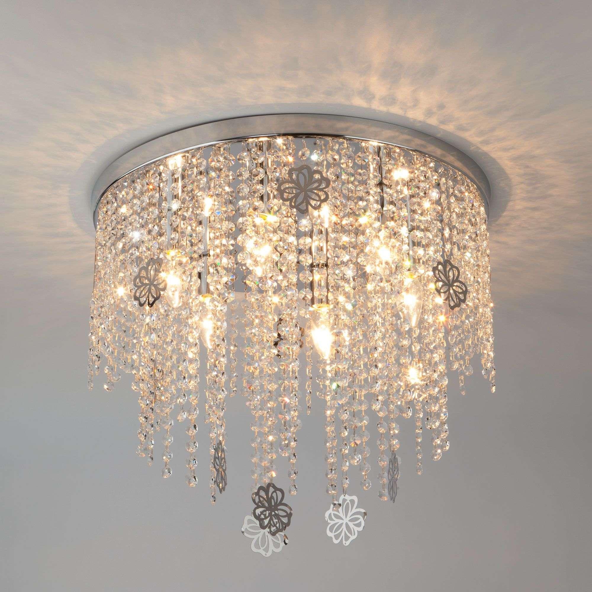 Потолочная люстра декором из хрусталя 10083/6 хром / прозрачный хрусталь