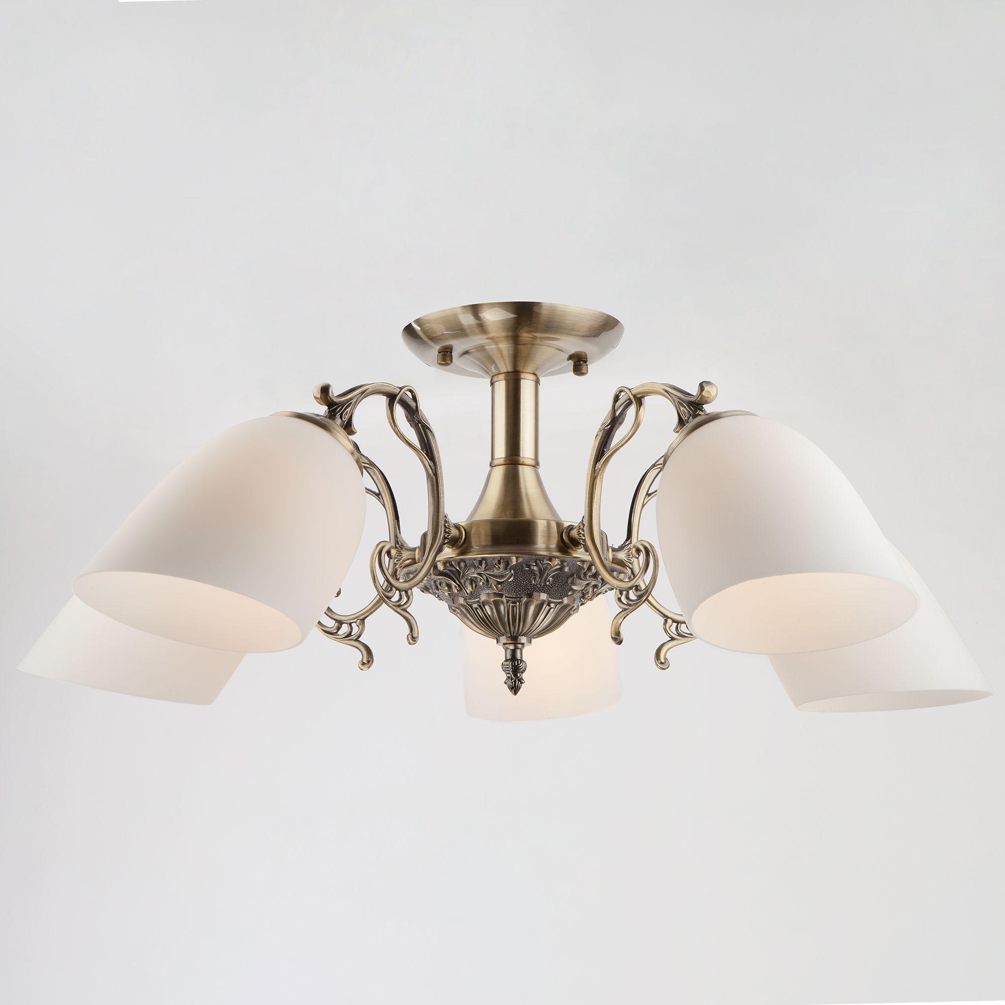 Потолочная люстра со стеклянными плафонами 22010/5 античная бронза
