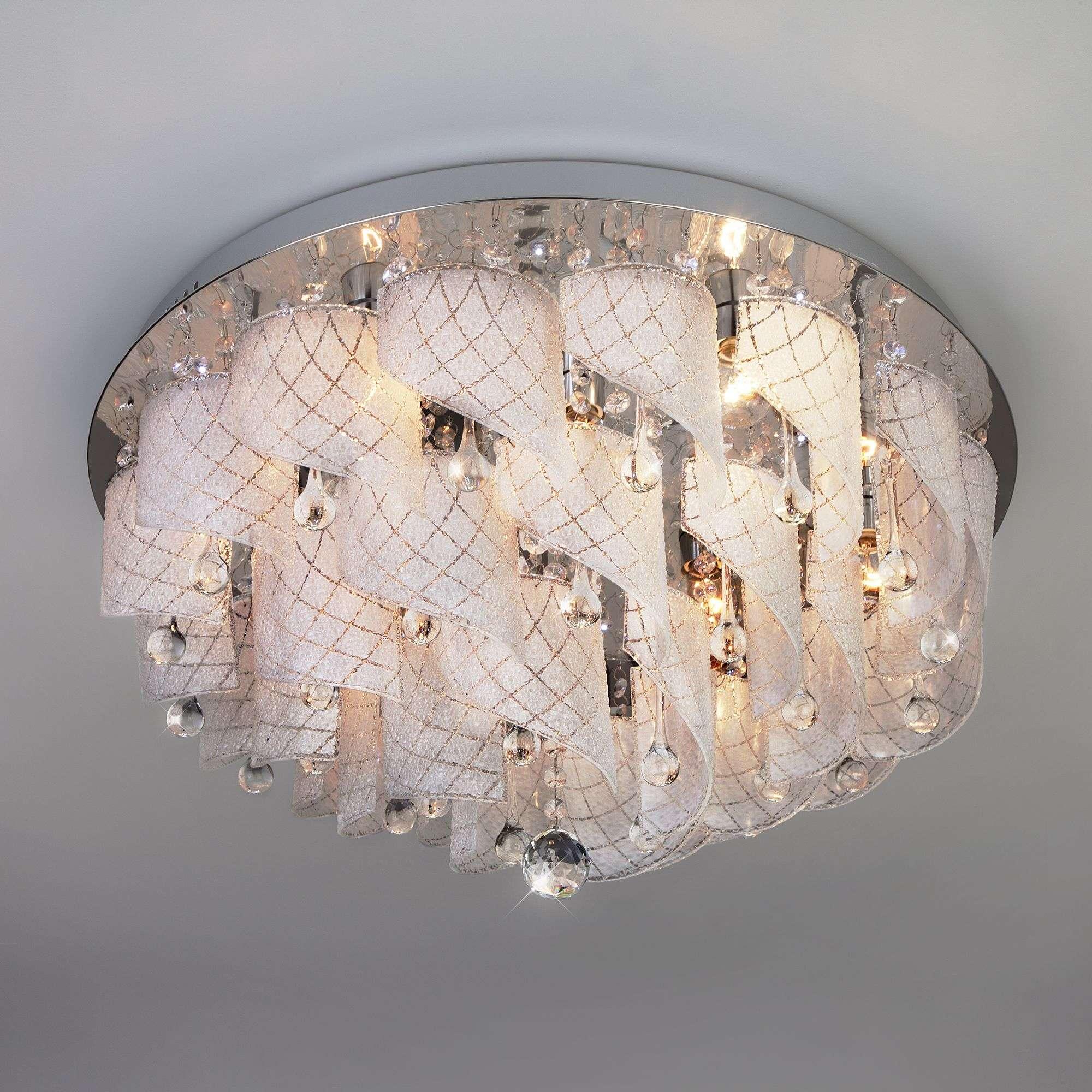 Потолочная люстра с декором из матового стекла 80117/9 хром/белый
