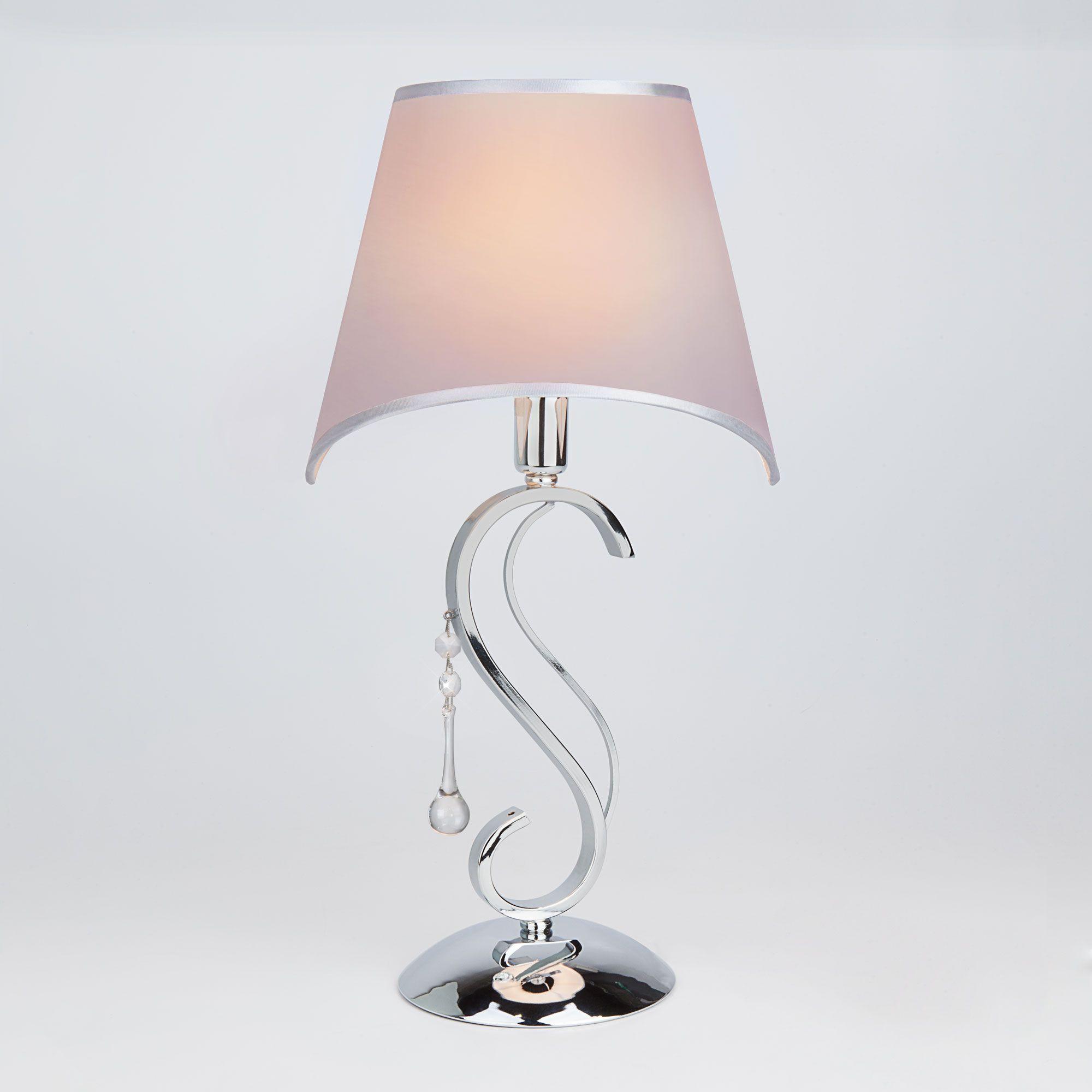 Настольная лампа с абажуром 01053/1 хром/прозрачный хрусталь Strotskis