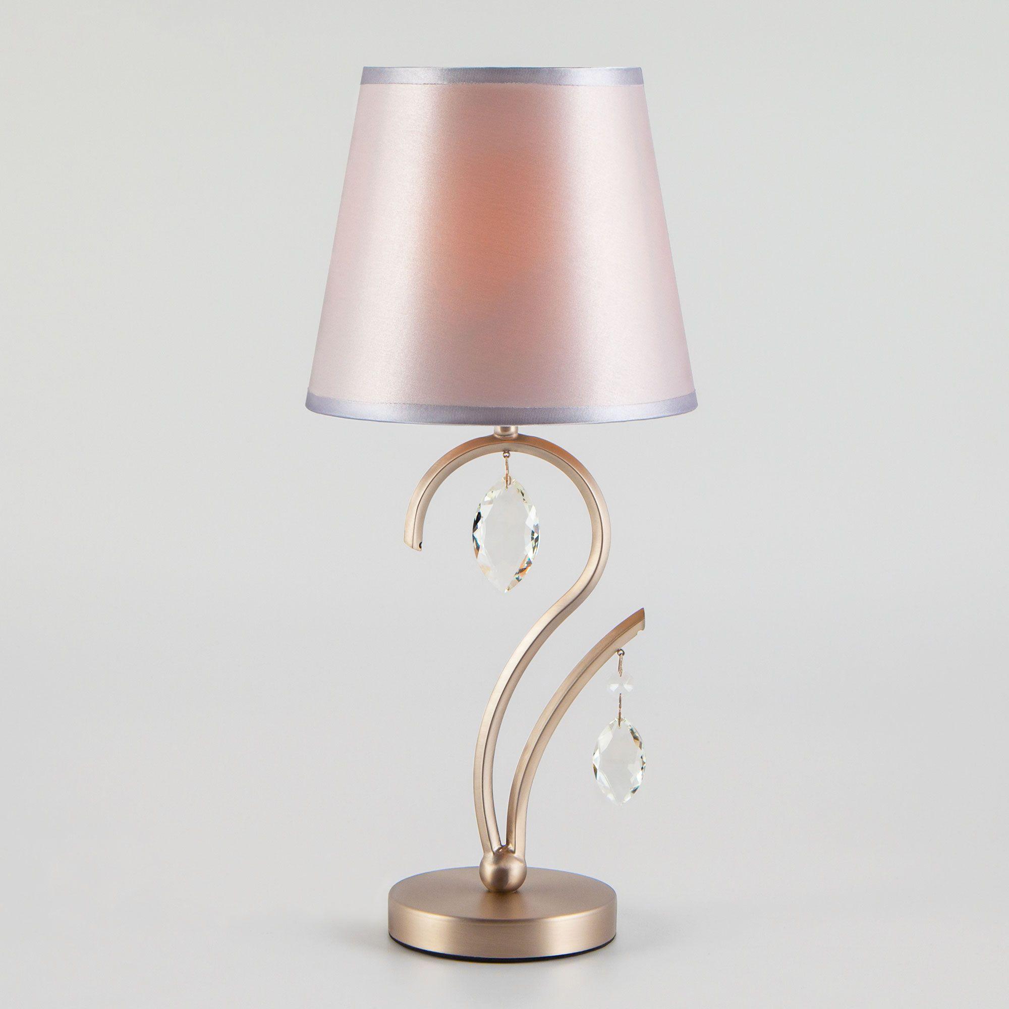 Настольная лампа в классическом стиле 01059/1 сатин-никель/прозрачный хрусталь Strotskis