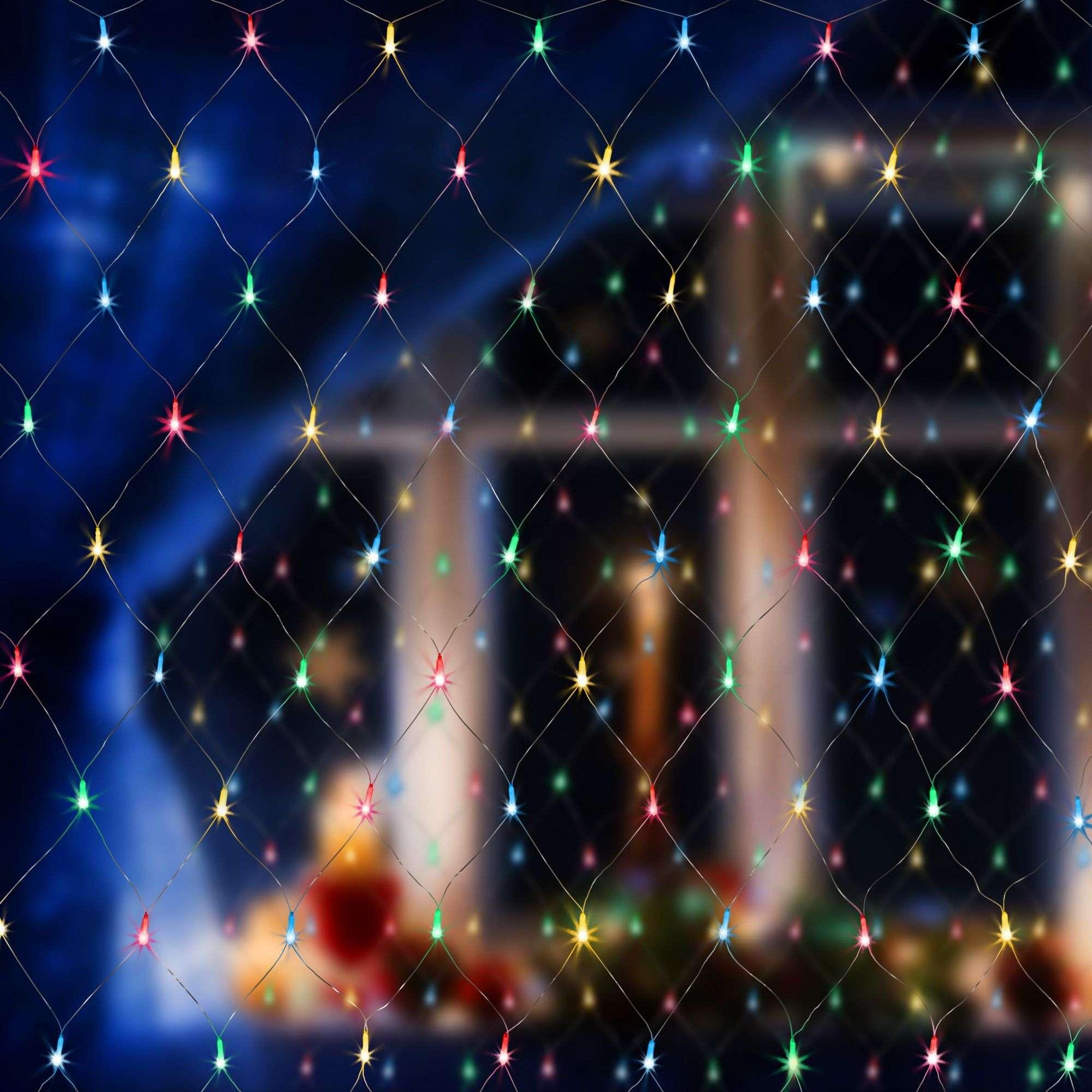 Новогодняя гирлянда сеть мульти 1,5*1,5м IP20 300-001 мульти