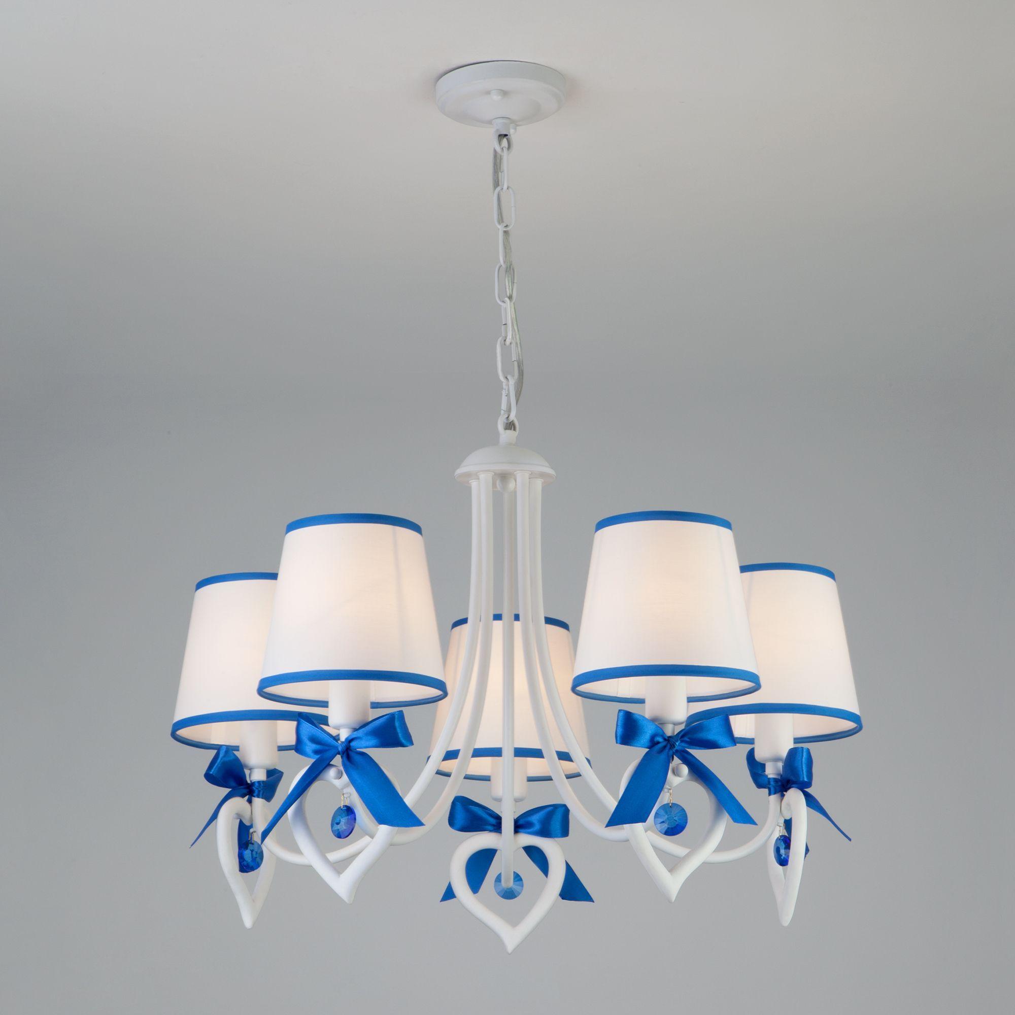Подвесная люстра с хрустальным декором 60066/5 белый/синий