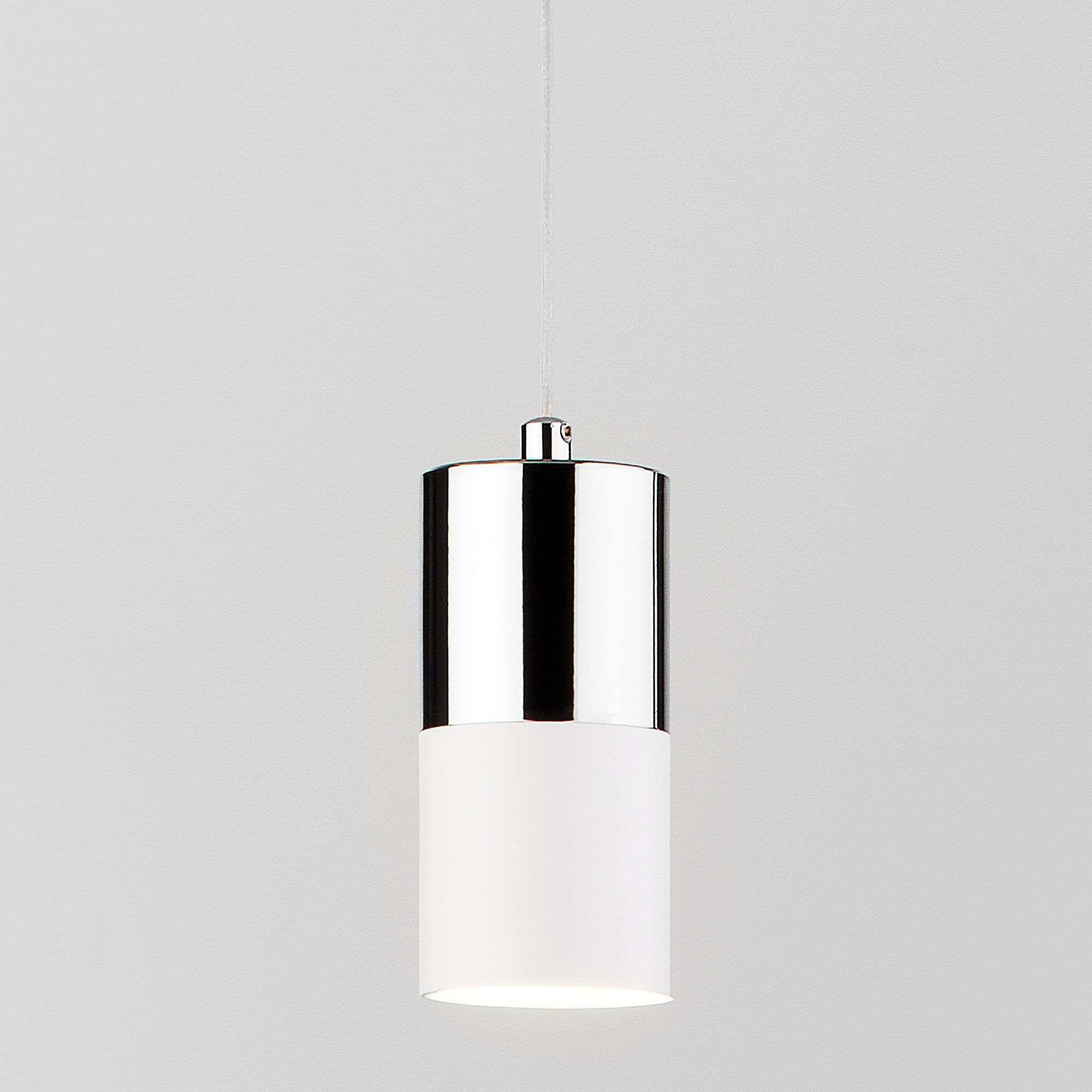 Подвесной светильник лофт с хромированной вставкой 50146/1 хром/белый