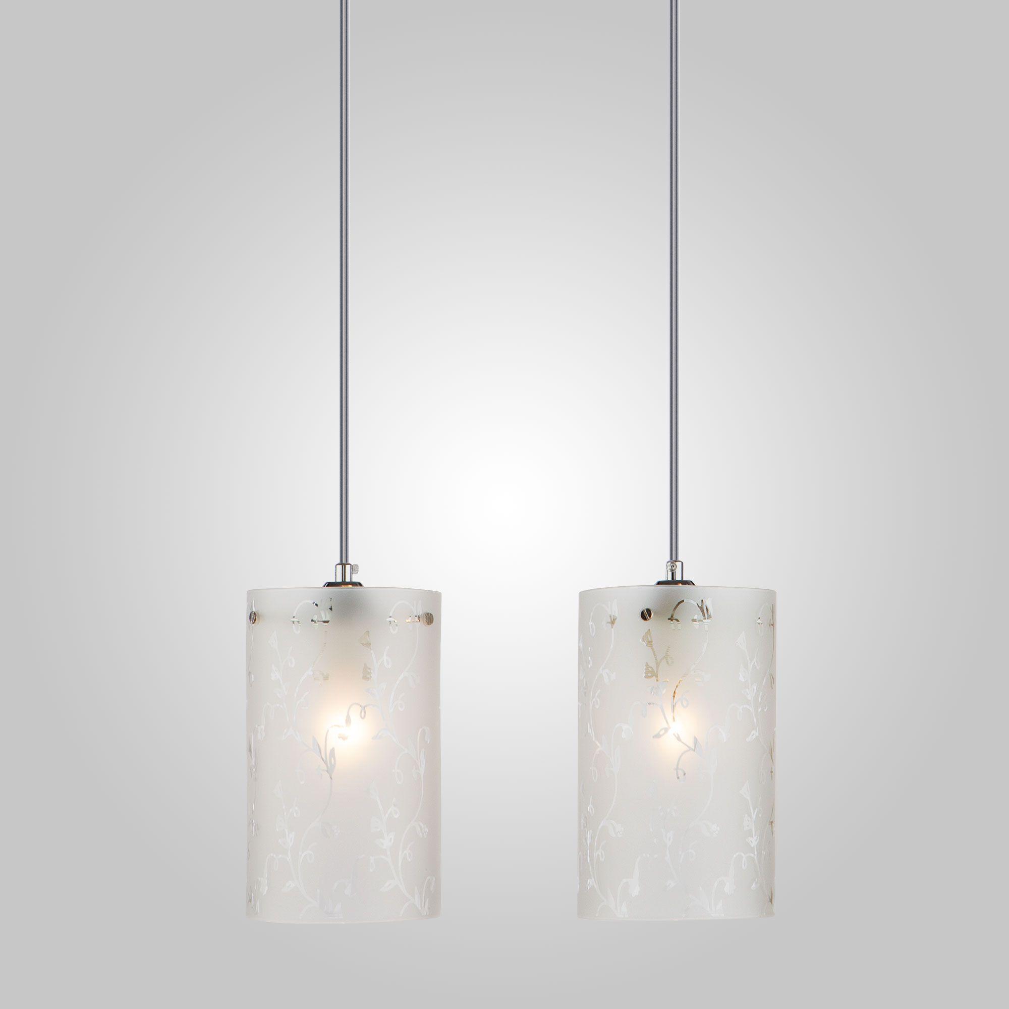 Подвесной светильник с двумя плафонами 1129/2 хром