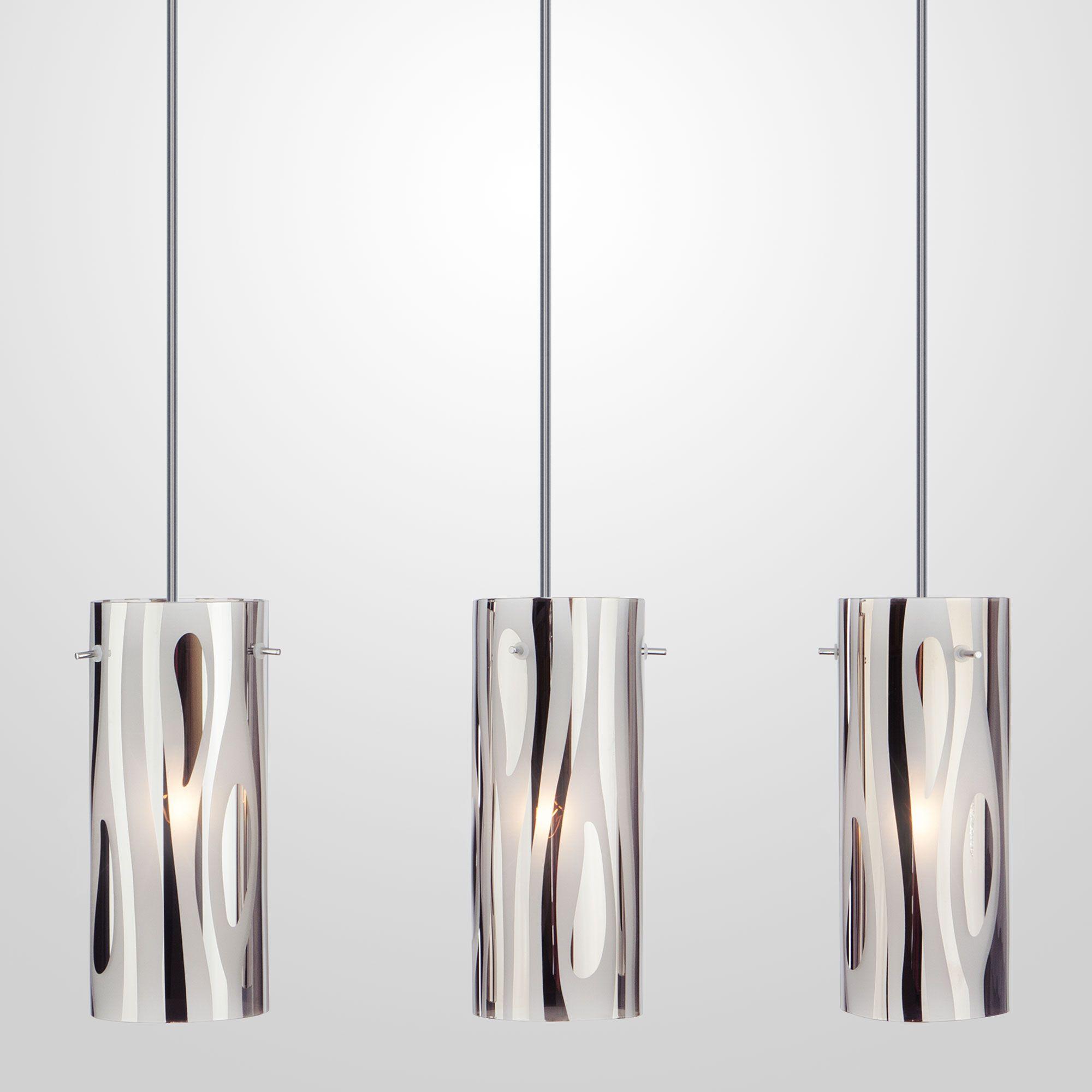 Подвесной светильник с плафонами из стекла 1575/3 хром