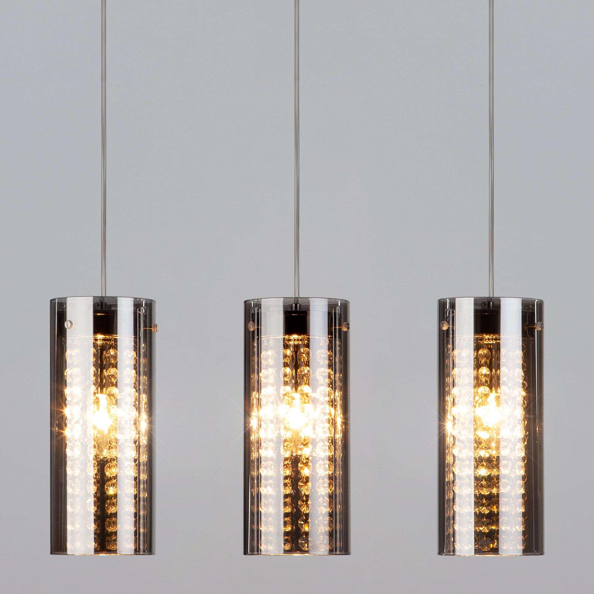 Подвесной светильник с тремя плафонами 1636/3 хром