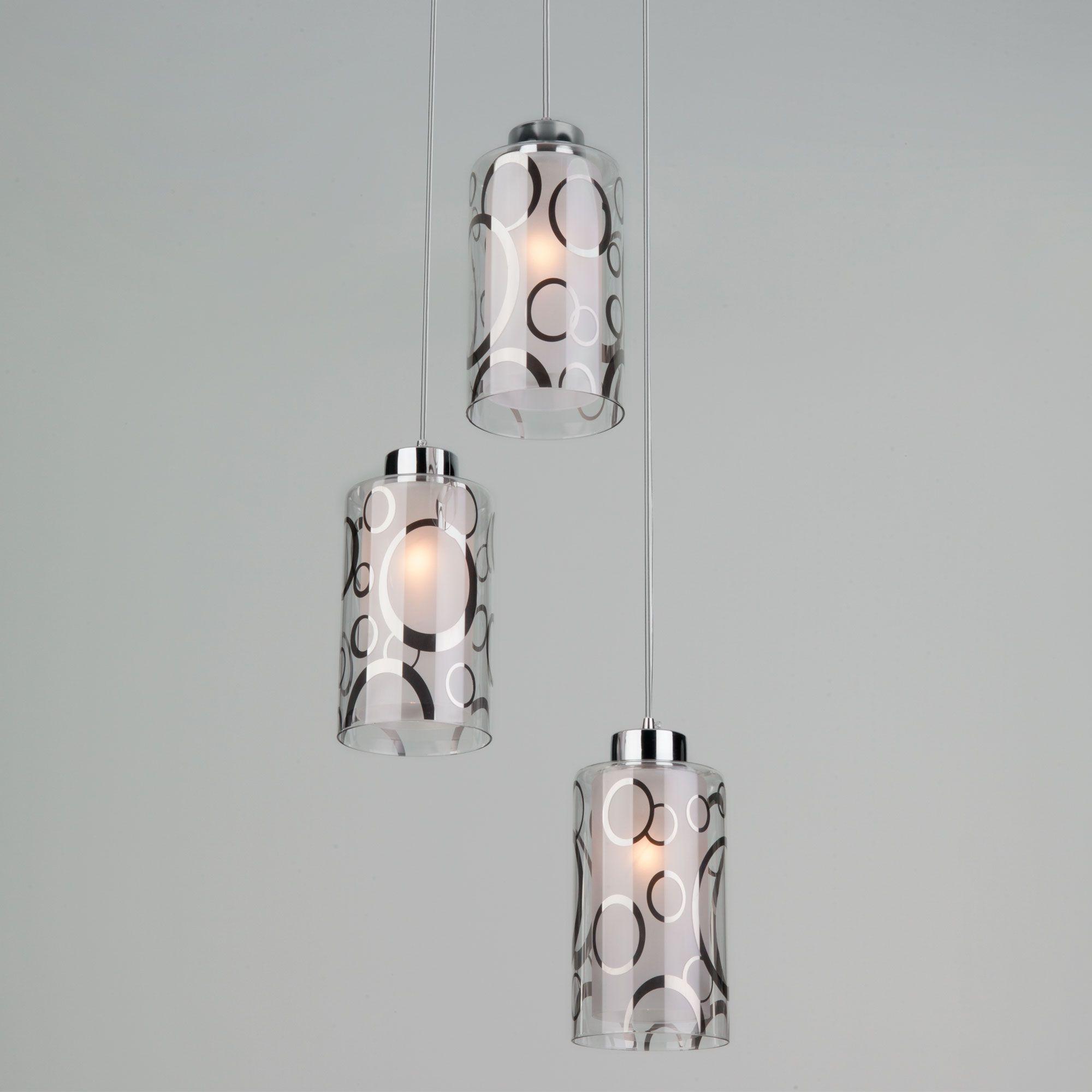 Подвесной светильник с тремя плафонами 50000/3 хром