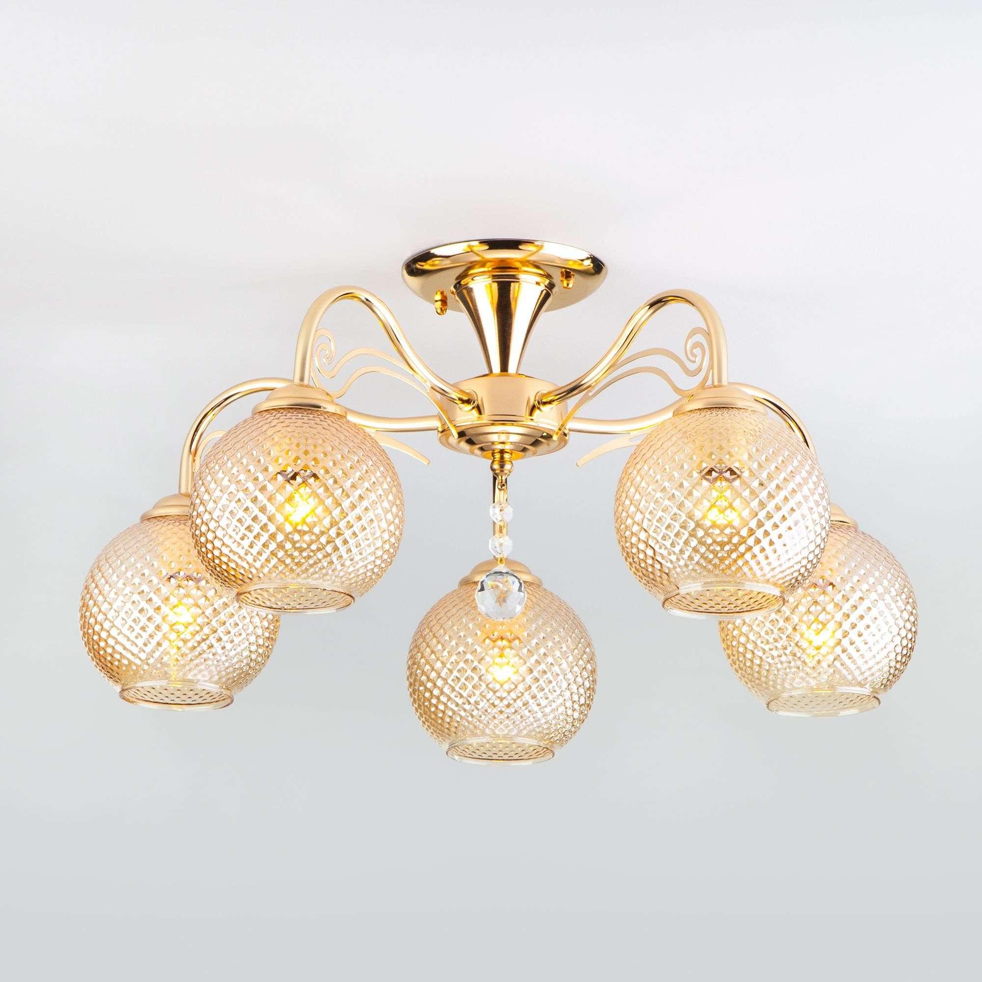 Потолочная люстра со стеклянными плафонами 30139/5 золото