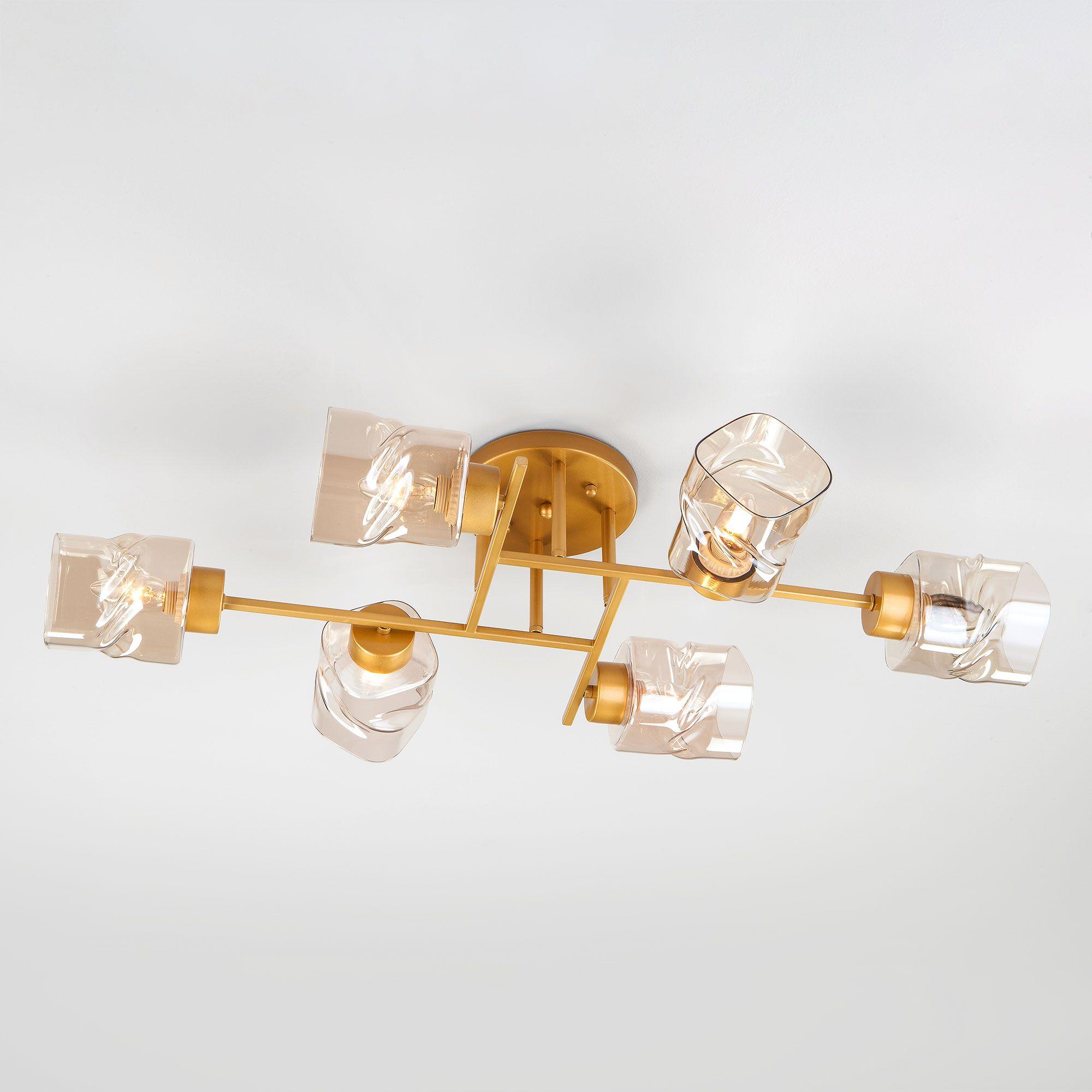 Потолочная люстра со стеклянными плафонами 30165/6 перламутровое золото