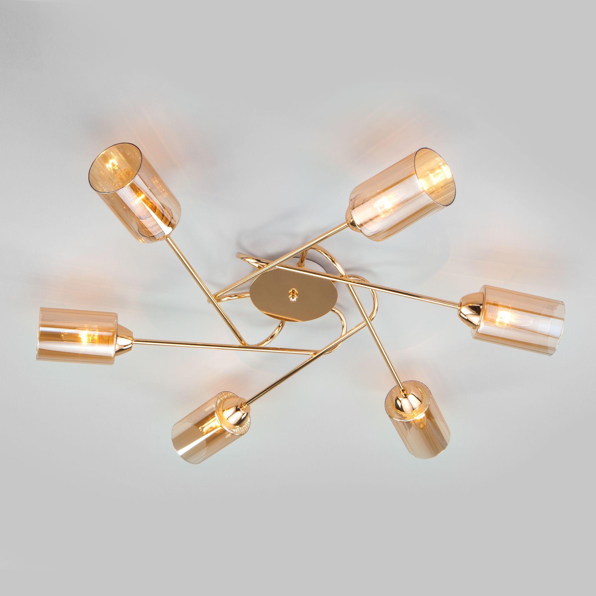 Потолочная люстра со стеклянными плафонами 30167/6 золото