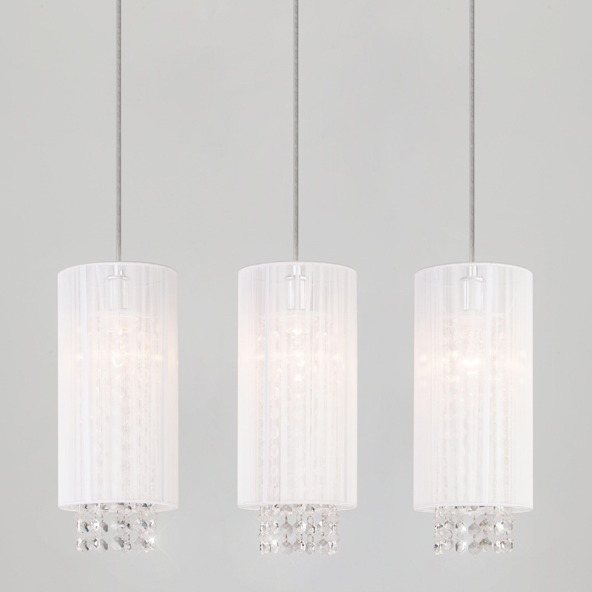 Потолочный светильник с белыми абажурами с хрусталем 1188/3 хром