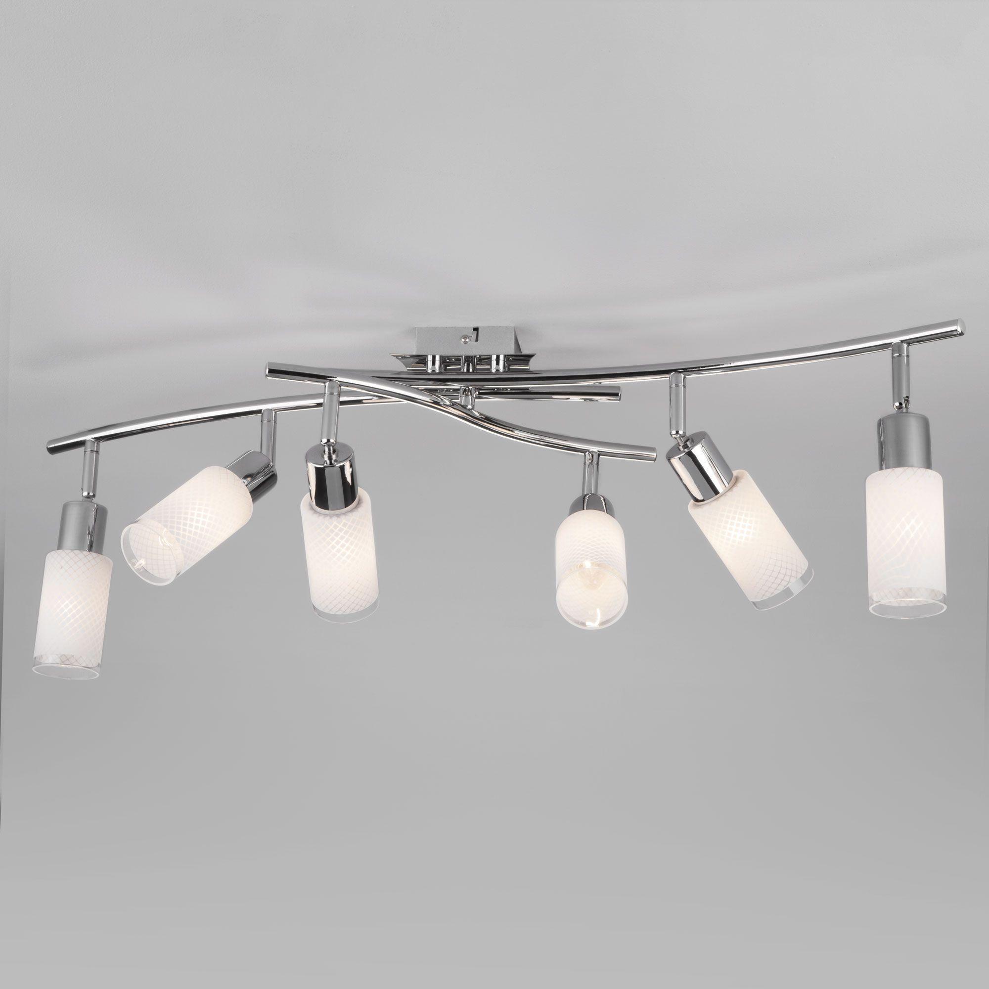 Потолочный светильник с плафонами из стекла 20030/6 хром