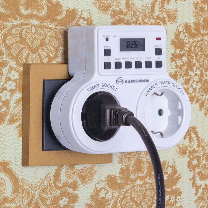 Розетка с электронным таймером 16A x2 IP20 Белый TMH-E-5