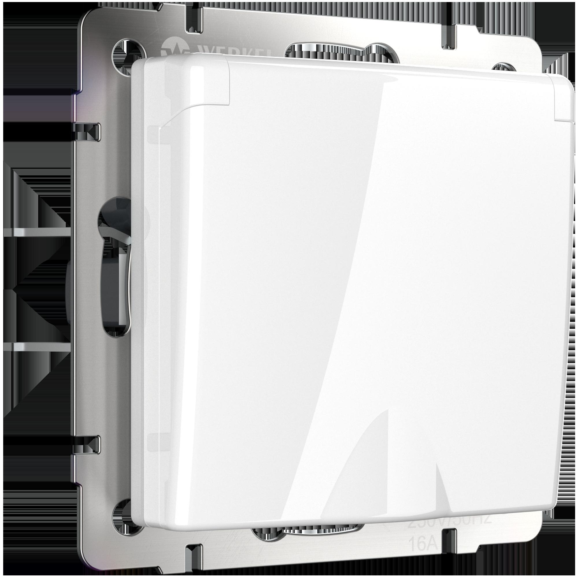 Розетка влагозащ. с зазем. с защит. крышкой и шторками белая WL01-SKGSC-01-IP44