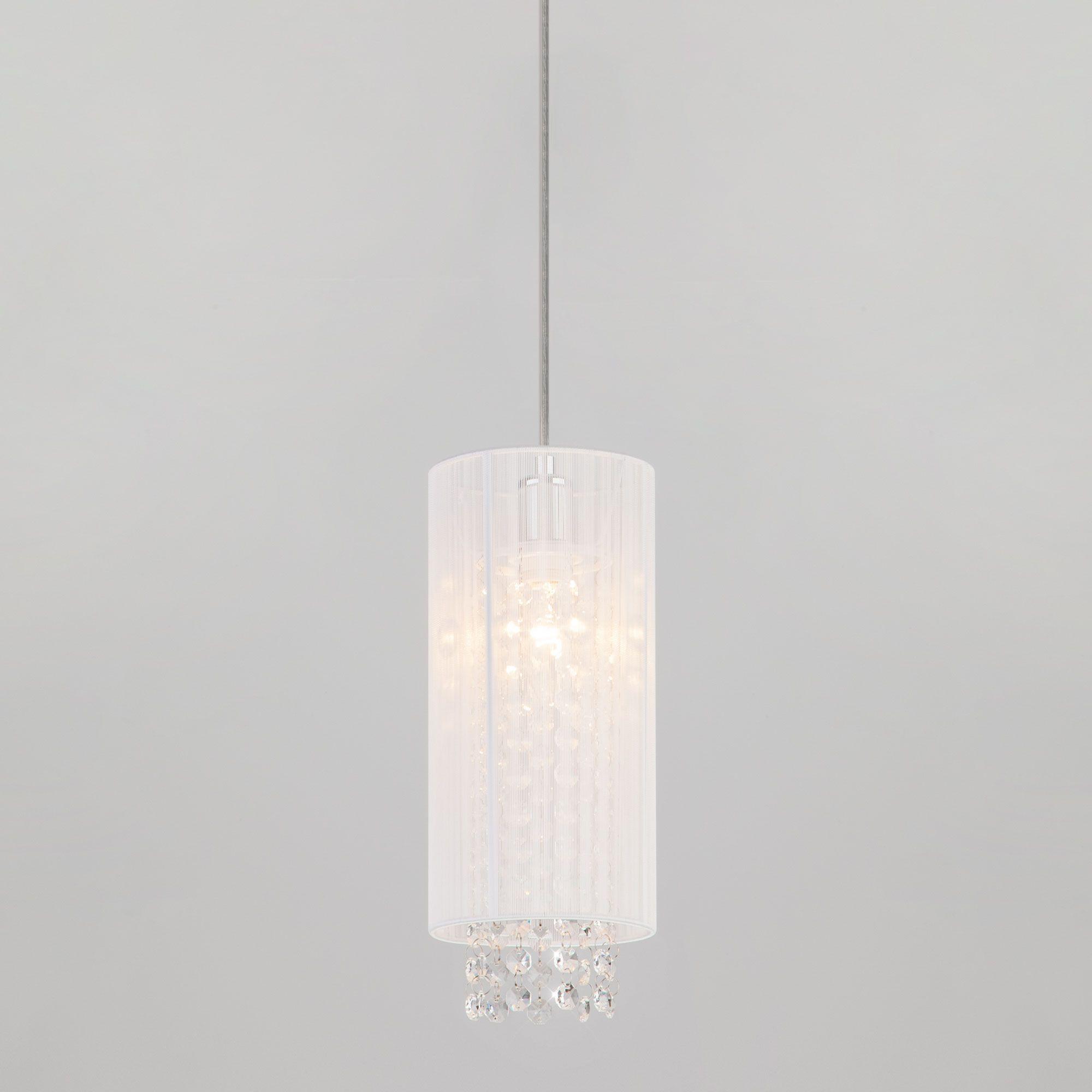 Светильник потолочный с абажуром и хрусталем 1188/1 хром