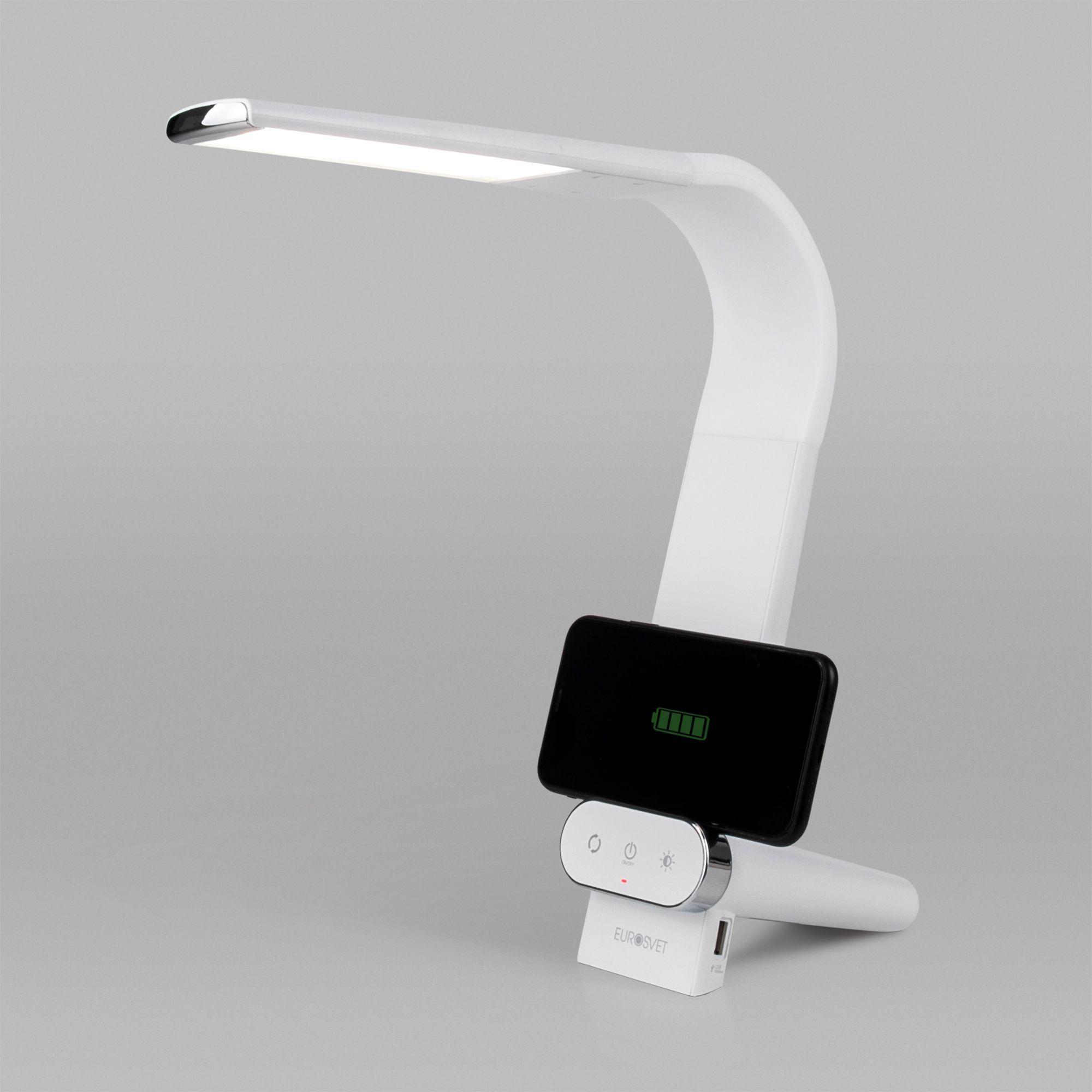 Светодиодная настольная лампа с беспроводной зарядкой 80427/1 белый