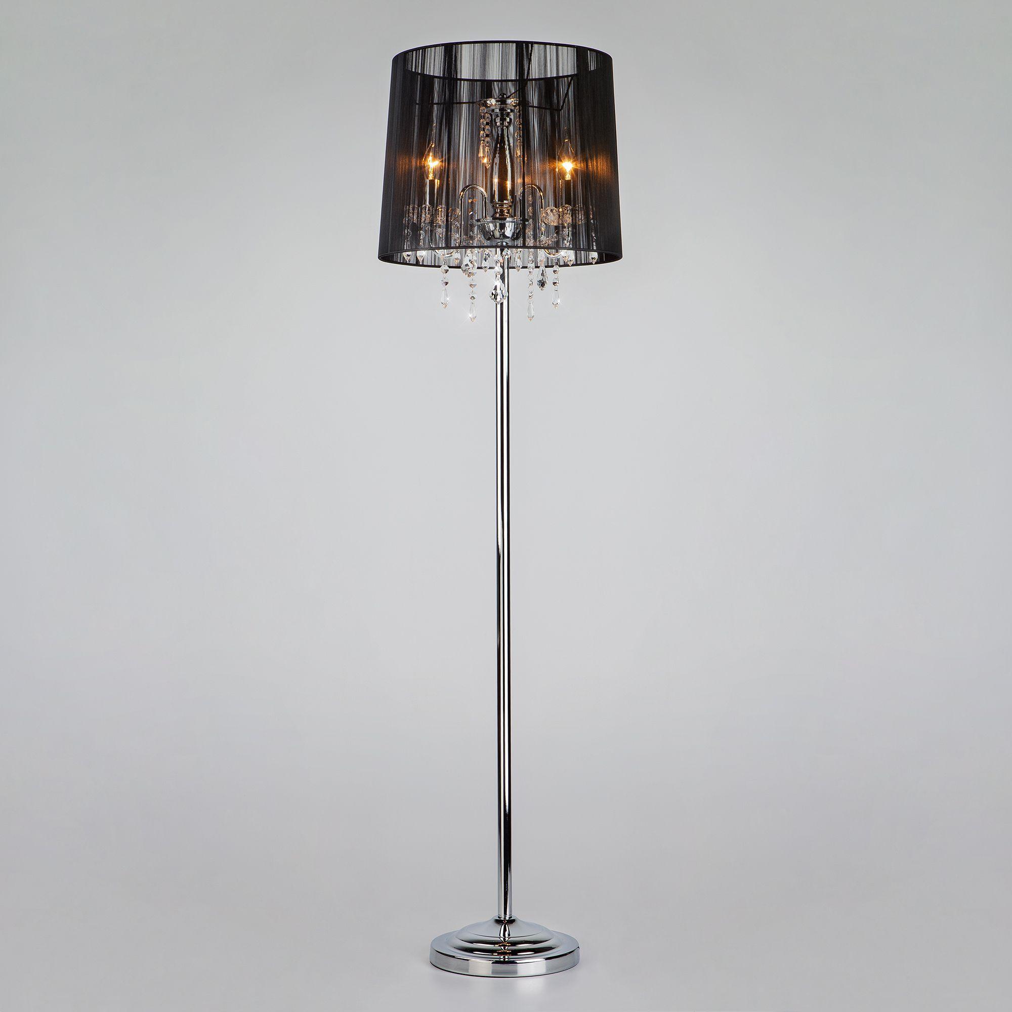Торшер с прозрачным абажуром 2045/3F хром/черный