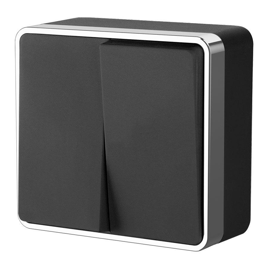 Выключатель двухклавишный Gallant черный/хром WL15-03-01